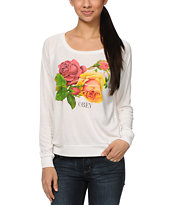 Obey Bed OF Roses Ivory White Raglan Top