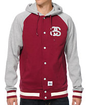 Stussy Hooded Baseball Maroon & Heather Grey Varsity Jacket