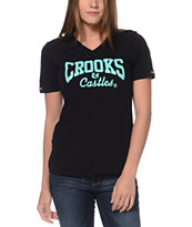 Crooks and Castles Girls Core Logo Black & Mint V-Neck Tee Shirt