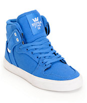 Supra Kids Vaider Royal Blue Canvas High Top Skate Shoes