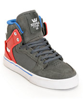 Supra Kids Vaider Grey, Red & Blue High Top Skate Shoes