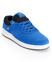 Emerica The Heritic Blue, Black, and White Suede Skate Shoe