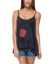 Cea+Jae Live Fast Charcoal Scoop Back Tank Top