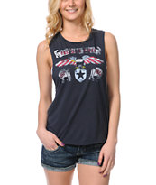 Cea+Jae Freedom Rider Charcoal Open Back Tank Top