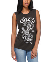 Obey Eplurcobra Charcoal Moto Cut Off Tank Top