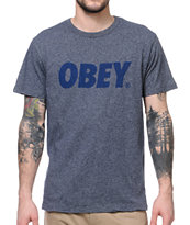 Obey Font Heather Navy Blended Tee Shirt