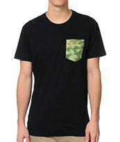 Glamour Kills  Black Camo Pocket Tee Shirt