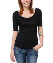 Lunachix Black Scoop Neck Fitted Top