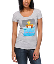 Diamond Supply Girls No. 1 Heather Grey Scoop Neck Tee Shirt
