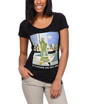 Diamond Supply Girls Diamond Life NY Black Tee Shirt
