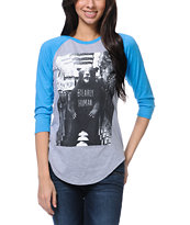 Glamour Kills Bearly Human Grey & Teal Baseball Tee Shirt