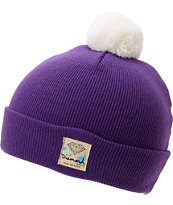 Diamond Supply Snow Shine Purple & White Pom Beanie