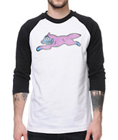ICECREAM Running Dog Black & Purple Baseball Tee Shirt