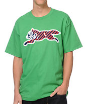 ICECREAM Striped Running Dog Kelly Green Tee Shirt