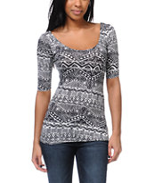 Lunachix Black & White Tribal Print Scoop Fitted Top