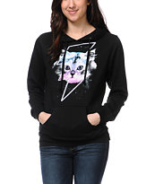 A-Lab Girls Thunder Cat Black Pullover Hoodie