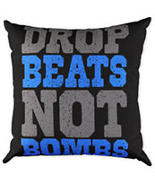 Acrylick Drop Beats Not Bombs Black Pillow