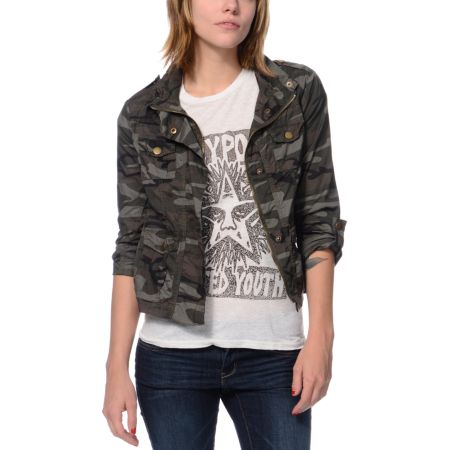 Angel Kiss Girls Camo Print Military Jacket