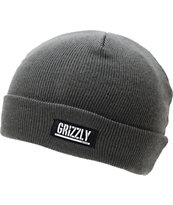 Diamond Supply x Grizzly Grip Tape Stamp Charcoal Fold Beanie