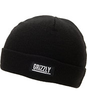 Diamond Supply x Grizzly Grip Tape Stamp Black Fold Beanie
