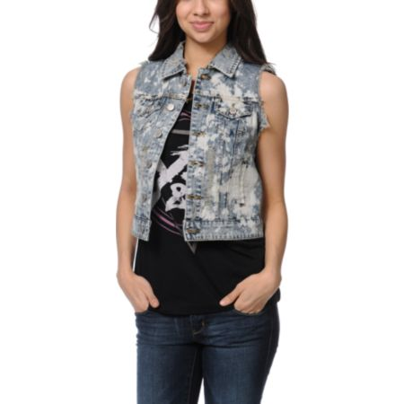 Thread and Supply Acid Paint Denim Vest