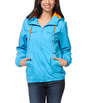 Volcom Girls Enemy Lines Blue Windbreaker Jacket