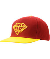 Diamond Supply Brilliant Burgundy & Yellow Snapback Hat