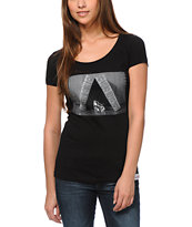 Diamond Supply Girls Life And Time Black Scoop Neck Tee Shirt