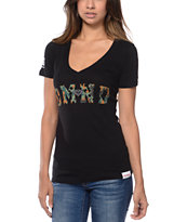 Diamond Supply Girls DMND Camo Print V-Neck Tee Shirt
