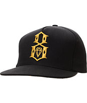 REBEL8 R8 Logo Black & Gold Snapback Hat