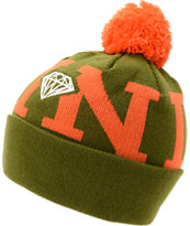 Diamond Supply Snow Pom Olive & Orange Beanie
