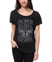 TWLOHA Dove Heather Black Scoop Neck Tee Shirt