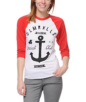 Glamour Kills Girls Brooklyn Anchor Club Baseball Tee Shirt