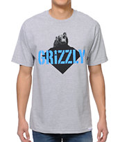 Diamond Supply x Grizzly Grip Tape Beast Heather Grey Tee Shirt