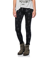 Empyre Girls Ponte Crosses Black Leggings