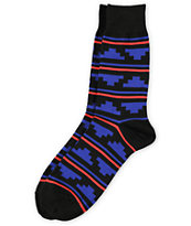 Richer Poorer Trekker Black & Blue Striped Crew Socks