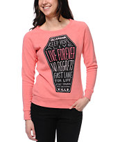Glamour Kills Sleep Forever Coral Crew Neck Sweatshirt