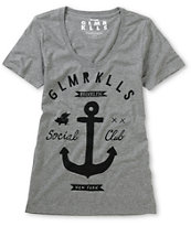 Glamour Kills Girls Brooklyn Anchor Club Grey Tee Shirt