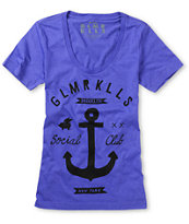 Glamour Kills Girls Brooklyn Anchor Club Purple Tee Shirt