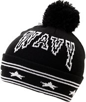 Crooks And Castles Wavy Black Pom Beanie