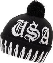 Crooks And Castles Surveillance Black & White Pom Beanie