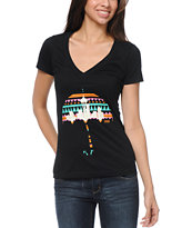 Casual Industrees El Umbrella Black V-Neck Tee Shirt