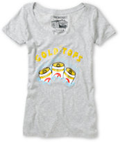 Casual Industrees Gold Tops Grey Scoop Neck Tee Shirt