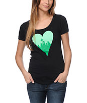 Casual Industrees Heart My City Black Scoop Neck Tee Shirt