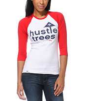 LRG Girls Hustle Trees White & Red Baseball Tee Shirt
