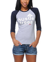 LRG Girls Hustle Trees Grey & Navy Baseball Tee Shirt