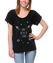 Jawbreaking Shoot For The Stars Black Flowy Tee Shirt