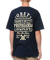 Obey Heavy Duty Propaganda Navy Tee Shirt