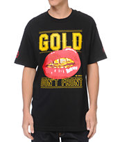 Gold Wheels Dont Front Black Tee Shirt