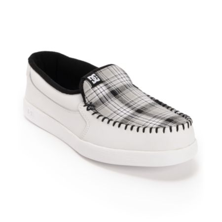 DC Villain White & Plaid Slip On Slippers